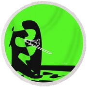 Trombone In Green Round Beach Towel by David Bridburg