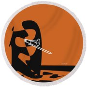 Trombone In Orange Round Beach Towel by David Bridburg