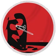 Trombone In Red Round Beach Towel by David Bridburg