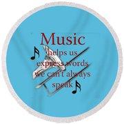 Trombone Music Expresses Words Round Beach Towel