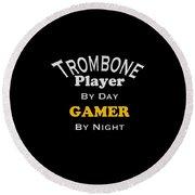 Trombone Player By Day Gamer By Night 5627.02 Round Beach Towel