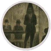 Trombonist  Round Beach Towel by Georges-Pierre Seurat