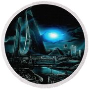 Tron Revisited Round Beach Towel