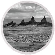 Trona Pinnacles Peaks Round Beach Towel by Marius Sipa