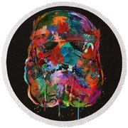Trooper In A Storm Of Color Round Beach Towel