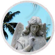 Tropical Angel With Tear Round Beach Towel