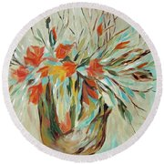 Round Beach Towel featuring the painting Tropical Arrangement by Joanne Smoley
