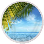 Tropical Beach Round Beach Towel by Carlos Caetano