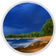 Tropical Beach Day Round Beach Towel