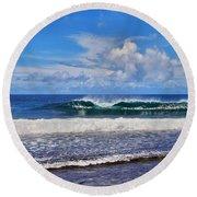 Tropical Beach Waves Round Beach Towel by Scott Cameron