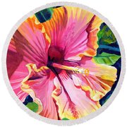 Tropical Bliss Hibiscus Round Beach Towel