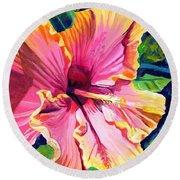 Tropical Bliss Hibiscus Round Beach Towel