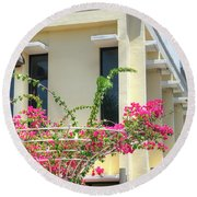 Tropical Bougainvillea Round Beach Towel