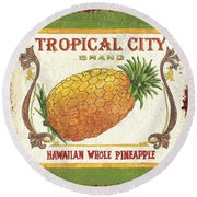 Tropical City Pineapple Round Beach Towel by Debbie DeWitt
