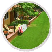 Tropical Courtyard Round Beach Towel