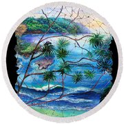Tropical Cove  Fresco Triptych 2 Round Beach Towel