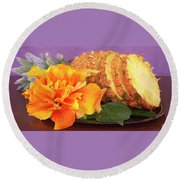 Round Beach Towel featuring the photograph Tropical Delight Still Life by Ben and Raisa Gertsberg