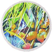 Round Beach Towel featuring the painting Tropical Design 1 by Rae Andrews