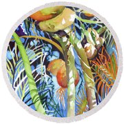 Round Beach Towel featuring the painting Tropical Design 2 by Rae Andrews