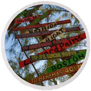 Tropical Directions Round Beach Towel