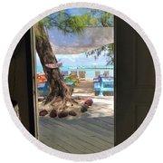 Tropical Entrance Round Beach Towel