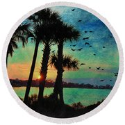 Tropical Evening Round Beach Towel by Jan Amiss Photography