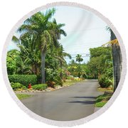 Tropical Feel Residential Street Round Beach Towel