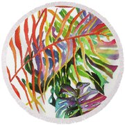 Tropical Fernery 2 Round Beach Towel by Rae Andrews