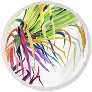 Round Beach Towel featuring the painting Tropical Fernery by Rae Andrews