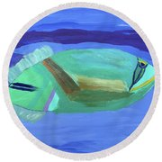 Round Beach Towel featuring the painting Tropical Fish by Karen Nicholson