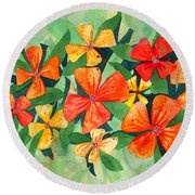 Tropical Flower Splash Round Beach Towel