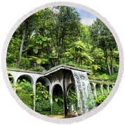 Tropical Gardens Waterfall Round Beach Towel