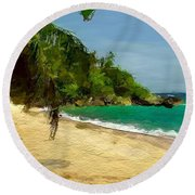 Tropical Gentle Breeze  Round Beach Towel
