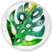 Tropical Greenery - Philodendron Leaf Round Beach Towel