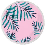 Tropical Greenery On Pink Round Beach Towel