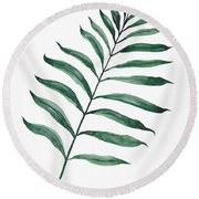 Tropical Greenery - Palm Tree Leaf Round Beach Towel