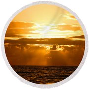 Round Beach Towel featuring the photograph Tropical Hawaiian Sunset by Michael Rucker