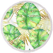 Tropical Haze Blanche Variegated Monstera Leaves, Golden Palm Fronds On Black Round Beach Towel by Tina Lavoie