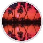 Tropical Heat Wave Round Beach Towel