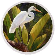 Tropical Heron Round Beach Towel