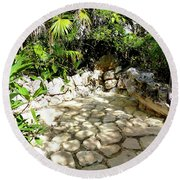 Round Beach Towel featuring the photograph Tropical Hiding Spot by Francesca Mackenney