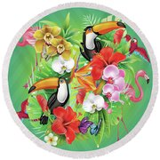 Tropical  Karnaval Round Beach Towel