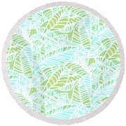 Tropical Lagoon Leaves Round Beach Towel