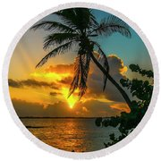 Tropical Lagoon Sunrise Round Beach Towel