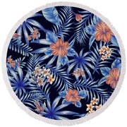 Tropical Leaf Pattern 4 Round Beach Towel