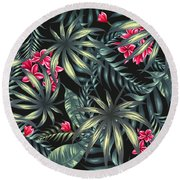 Tropical Leaf Pattern  Round Beach Towel by Stanley Wong