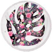 Tropical Leaf - Philodendron Black Pink Round Beach Towel
