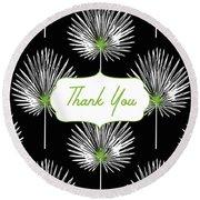 Tropical Leaf Thank You Black- Art By Linda Woods Round Beach Towel