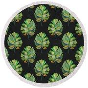 Tropical Leaves On Black- Art By Linda Woods Round Beach Towel