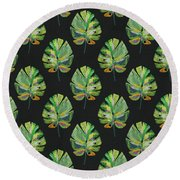 Round Beach Towel featuring the mixed media Tropical Leaves On Black- Art By Linda Woods by Linda Woods